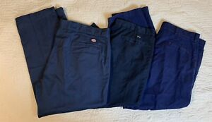 Dockers Red Kap Cintas Work Pants Men Size 40-46x28/29 Blue Uniform Lot Of 3