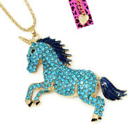 Women's Enamel Crystal Cute Horse Unicorn Pendant Betsey Johnson Necklace Gift