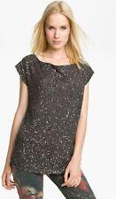 Haute Hippie Grey Off Shoulder Sequin Silk Blouse Top $495 Size XS NWT