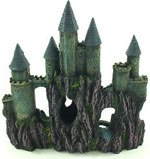 Aquarium Fish Tank Castle Towers On Rocks Ornament Decoration #1028V