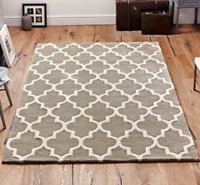 Moroccan Tile Rugs In Beige & Cream Modern Handmade Wool Rugs 160X230CM Large