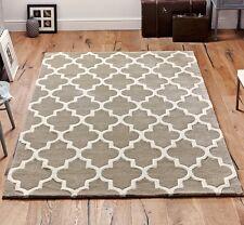 Moroccan Tile Rugs In Beige & Cream Modern Handmade Wool Rugs 80X150CM