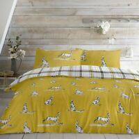 Hares Ochre with Yellow & Grey Check Reversible Duvet Covers by Fusion