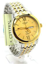 New Citizen Man  Two-tone, Gold-dial, Day-date-window Dress Watch