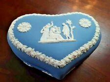 New Listing Wedgwood Blue Bird cage Roman Jasperware Heart Shape Box Excellent Large