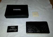 CHANEL Authentic CC Logos Quilted Long Bifold Wallet Purse Lamb Leather Black