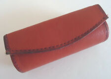 Ladies Genuine Leather Lipstick Case with Mirror,Red