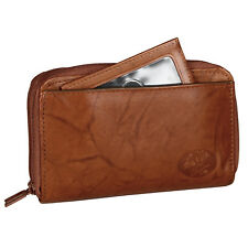 New Buxton Women's Leather Double Zip Organizer Wallet, Mahogany