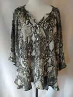 Willi Smith Womens Gray Snake Skin Print Bat Sleeve Low Cut 3 Button Blouse S
