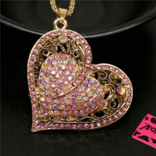 Betsey Johnson Shiny Rhinestone Dz Ab Pink Heart Crystal Pendant Chain Necklace