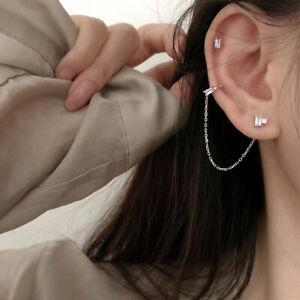 Crystal Ear Cuff Clip Chain Earring Women Rhinestone Clip On Earrings Jewelry uk