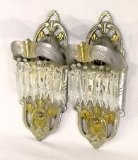 Vintage Lincoln Lighting Art Deco Electric Wall Sconces w/ Crystals Prisms