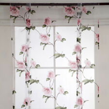 Floral Design Thermal Insulated Tie Up Curtains Rod Pocket Short Curtains for