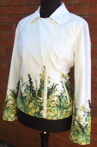 DENNIS BASSO QVC Stunning Floral Biker Style Cotton Summer Jacket Sizes UK 16-28