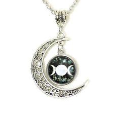Three Moon Goddess Pendant Cabochon Setting Silver Tone Necklace