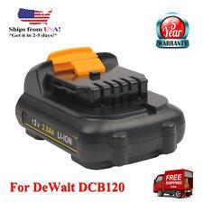 12V For DeWalt XR DCB120 Max Li-Ion Battery DCB120 DCB123 DCB121 DCB100 2.0AH US