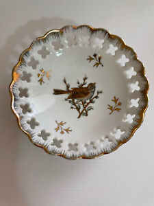 Vintage Japan Fine China Footed Bowl Trinket Bird Sparrow & Flower Gilt 10cm