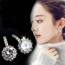 Fashion Women Sterling Silver Earrings Zircon Crystal Ear Studs Dangle Jewelry