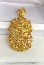14k Solid Yellow Gold Rectangle Cluster Pendant, Natural Yellow Sapphire 4.5CT