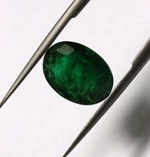 2.84 Ct Dark Green Color Natural Emerald Loose Oval Cut Zambian No Heat Gemstone