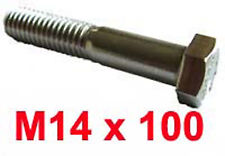 M14 x 100 Stainless Steel Shanked BOLTS - 14mm x 100mm Stainless Hex Bolts x2