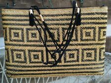 Women's Black and Tan Woven Purse