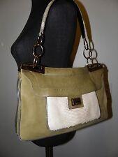Barbara Bui Leather Suede Olive Green Shoulder Handbag with Python Detail
