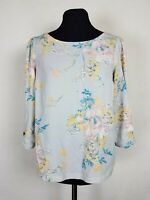 LC Lauren Conrad Womens Size Small Top Gray Floral Boxy Loose Fit Blouse Boho S