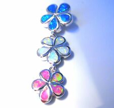 "**NEW**STUNNING BLUE/PINK/WHITE FIRE OPAL 3  FLOWER PENDANT + 20"" SILVER CHAIN."