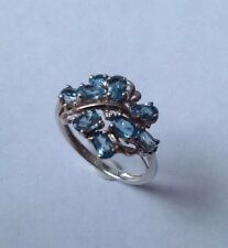 Solid Silver & Blue Topaz Cluster Ring UK Size S USA 9.