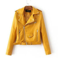 FR Blouson Perfecto Femme simili Cuir Veste Fermeture Blazer Manteau court Jaune
