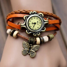 Orange Butterfly Pendant Leather Weave Ladies Women Bracelet Quartz Wrist Watch
