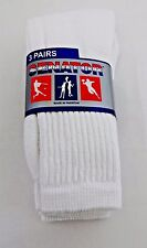 Solid white sneaker socks cotton blend ribbed top crew 3 pairs size 9-11 sports