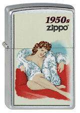 ZIPPO Feuerzeug PINUP GIRL 1950 Street Chrome Sexy Girl 50er Jahre NEU OVP