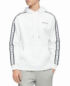 Calvin Klein Mens Sweater White Size Medium M Pullover Hooded Logo $89 212