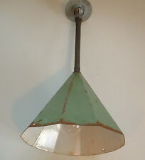 "Old 11"" Porcelain Pendant Industrial Green Decagon Enamel Barn Lamp Light vtg"