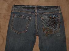 """VANS Size 5 Flare Dark Blue Stretch Denim Womens Jeans Button Fly 32.5"""" Inseam"""