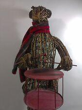 Rustic Wood Art Reindeer HUGE 3'FT Sculpture Metal Drum Deer Wooden Figure Decor