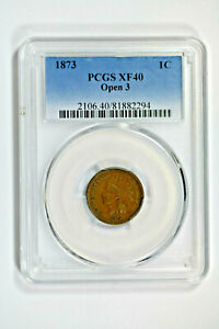 1873 PCGS XF40 Open 3 Indian Cent - Nice Coin!!