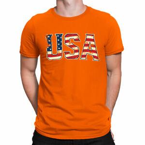 Vintage USA Letters American Patriotic Pride 4th  Short Sleeve Men's T-Shirt