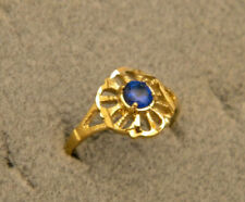 Lady's Girl's Yellow Gold Plated Fashion Ring Size 7.5 Blue Round CZ