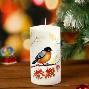 Bullfinch Bird Unscented Holiday Votive Candle, Paraffin Wax Burn Time 33 hrs