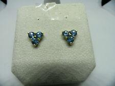 Blue Topaz Stud Earrings - 14k Yellow Gold Pierced 2.00ctw