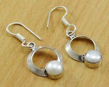 925 Sterling Silber Perlen Stein Indischen Baumeln Ohrringe Modeschmuck