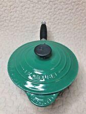 LE CREUSET FRANCE GREEN CAST IRON ENAMEL 1 7/8 QUART SAUCE PAN #18