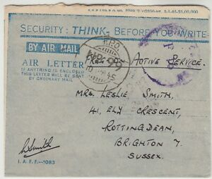 1945 INDIAN FORCE in KOYLI censored air letter to BRIGHTON with FPO No99 (NASIK)