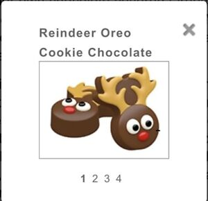CHRISTMAS REINDEER OREO TYPE COOKIE CHOCOLATE MOULD 4 SHAPES ON 1 MOULD