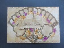 Vintage CHRISTMAS Card Embossed Diecut Fan Shaped Foldout 1920s