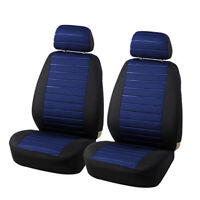 2PCS Car Front Seat Covers Blue Durable Cloth 5mm Foam Universal Interior