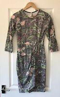 PEOPLE TREE BLACK FLORAL PRINT ORGANIC COTTON JERSEY WRAP DRESS UK 8
